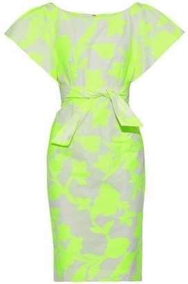 Milly Dakota Tie-Front Cotton-Blend Jacquard Dress
