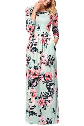YMING Womens 3/4 Sleeve Spring Flower Casual Floor Length Maxi Dress Green,3XL