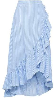 Raoul Wrap-effect Ruffle-trimmed Cotton-poplin Midi Skirt