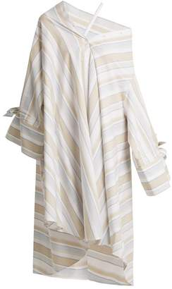 Palmer//harding - Off The Shoulder Striped Cotton Blend Shirtdress - Womens - Beige Multi