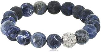 Genuine Sodalite 10mm Bead with Sterling Silver Pave Cubic Zirconia Accent Gemstone Stretch Bracelet