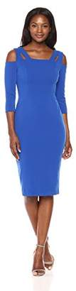 Maggy London Women's Novelty Knit Sheath with Square Neck and Cut Out Detail