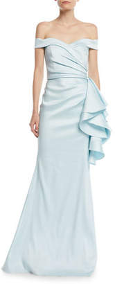 Badgley Mischka Off-the-Shoulder Gown w/ Side Ruffles