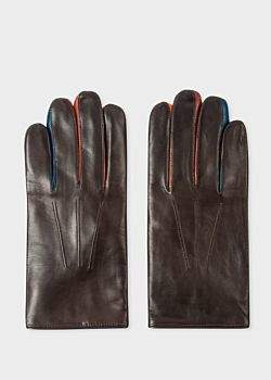 Paul Smith Men's Brown Leather Concertina Gloves