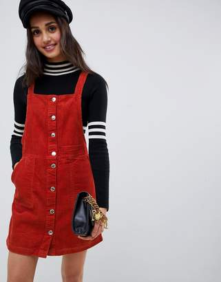 Miss Selfridge button through pinny dress in rust