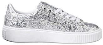 Puma Basket Platform Silver Glitter Sneakers