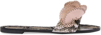 Sophia Webster Soleil Snake-effect And Laser-cut Leather Slides - Snake print