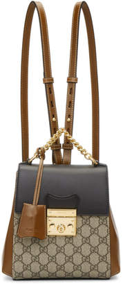 Gucci Brown and Black Padlock GG Supreme Backpack