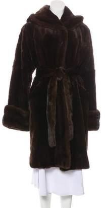 Neiman Marcus Sheared Mink Hooded Coat