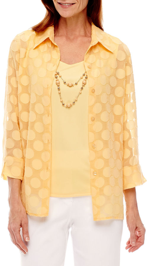 Alfred DunnerAlfred Dunner Seas The Day 3/4 Sleeve Layered Top