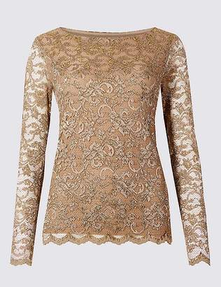 Marks and Spencer Lace Slash Neck Long Sleeve Top
