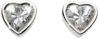 Glass Heart Dew Women's Sterling Silver and Garnet Heart Stud Earrings