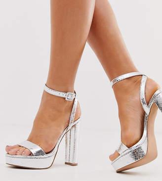 Barely There Asos Design ASOS DESIGN Wide Fit Nutshell platform heeled sandals in silver snake