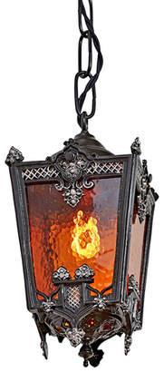 Rejuvenation Romantic Ornate Entry Pendant w/ Textured Amber Glass