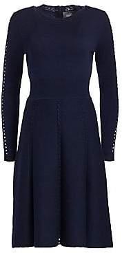 Lela Rose Women's Wool Long-Sleeve Flare Dress