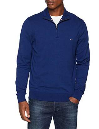Tommy Hilfiger Men's Classic Cotton Zip Mock Jumper, (Blue Depths 437)