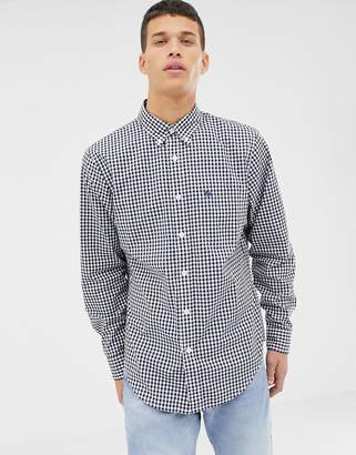 Abercrombie & Fitch icon logo pocket button down gingham check shirt slim fit in navy/white