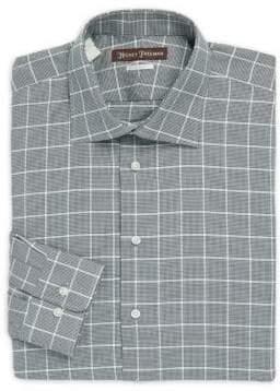 Hickey Freeman Classic-Fit Cotton Plaid Dress Shirt