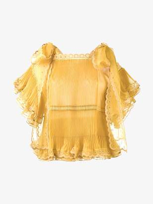 Chloé sheer pleated scalloped blouse