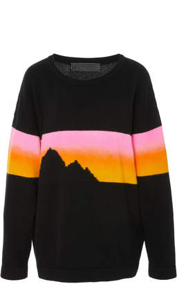 The Elder Statesman Rambler Painted Skyline Cashmere Sweatshirt
