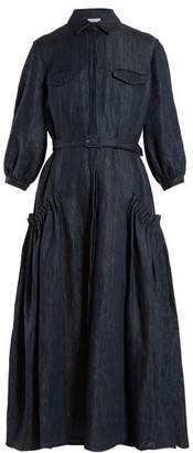 Gabriela Hearst Woodward Gathered Linen Midi Dress - Womens - Denim