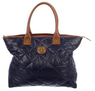 Tory Burch Leather-Trimmed Quilted Nylon Tote