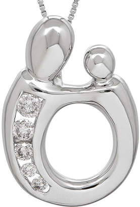FINE JEWELRY 1/5 CT. T.W. Diamond 14K White Gold Mom and Baby Pendant Necklace