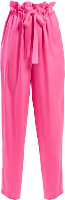 Charmeuse paperbag-waist trousers