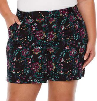 Boutique + + Floral 7 Twill Shorts - Plus