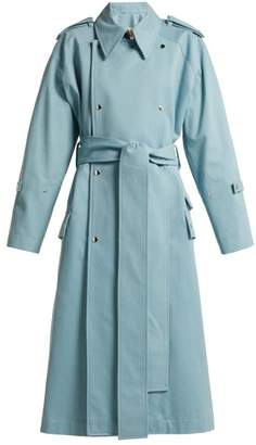 Acne Studios Double Breasted Cotton Trench Coat - Womens - Blue