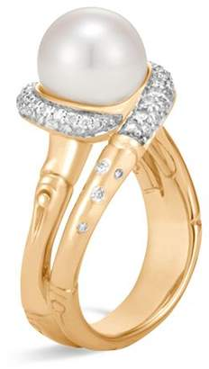 John Hardy 18K Yellow Gold Bamboo Pavé Diamond and Cultured Freshwater Pearl Ring