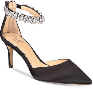 Badgley Mischka Audrey Embellished Ankle Strap Evening Pumps, Created for Macy's Women's Shoes