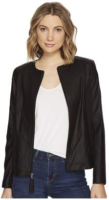 Via Spiga Zip Collarless Jacket with Knit Trim Women's Jacket