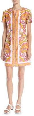 Trina Turk Arboretum Paisley Cotton Dress w/ Zipper Front