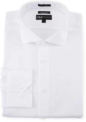 Neiman Marcus Men's Trim-Fit Regular-Finish Dobby-Texture Sport Shirt, White