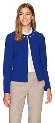 Tahari by Arthur S. Levine Women's Crepe Jacket with Grommet Detail Around Collar