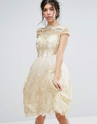 Chi Chi London Premium Metallic Lace Midi Prom Dress with Bardot Neck $114 thestylecure.com