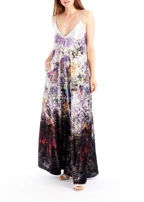 Nicole Miller New York Crushed Velvet Floral-Print Maxi Dress