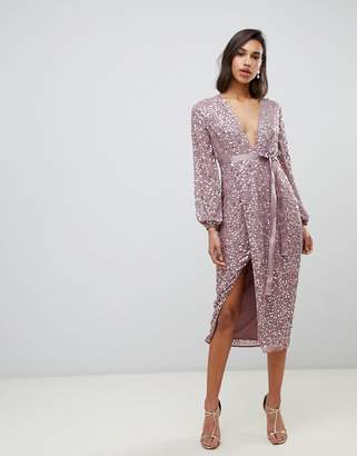 Asos Design DESIGN midi dress in allover scatter sequin with ribbon tie waist