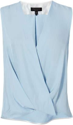 211609e04f8323 at Intermix · Rag & Bone Victor Sky Blue Wrap Blouse