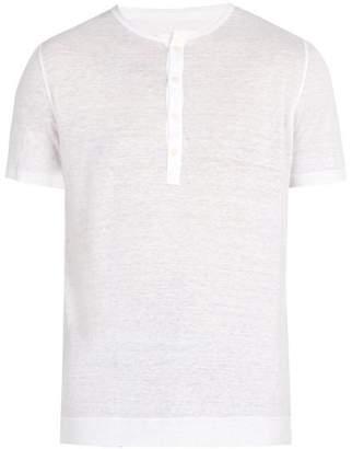 120% Lino Henley Linen Jersey T Shirt - Mens - White
