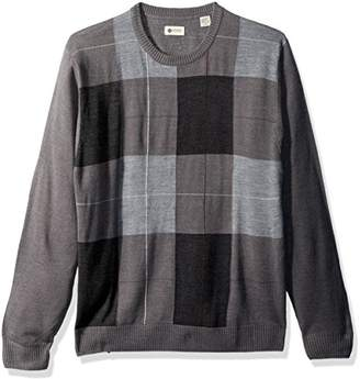 Haggar Men's Soft Acrylic Patchwork Crew Neck Sweater