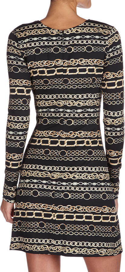 Julie Brown JB by Morgan Chain-Print Jersey Dress, Black