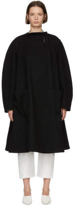 Lemaire Black Wool Wrapover Coat