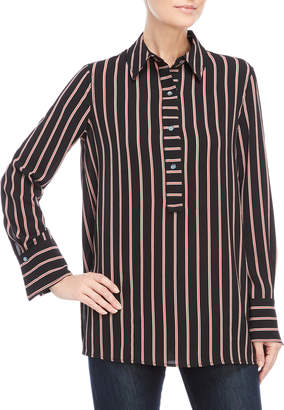 Max Studio Striped Bubble Crepe Shirt