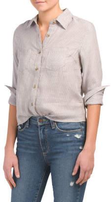 Juniors Multi Stripe Woven Shirt