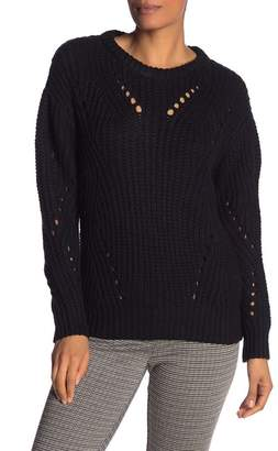Vince Camuto Rib Pointelle Detail Cotton Blend Sweater (Regular & Petite)