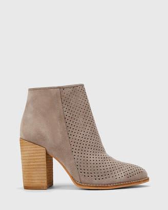 Haruko Perforated Block Heel Ankle Boots
