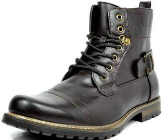 Andrew Marc BRUNO Bruno Marc Philly-5 Men's Formal Classic Cap Toe Vintage Laced Up Side Zipper Military Combat Boots Dark-Brown Size 13