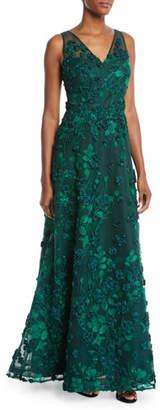 Rickie Freeman For Teri Jon 3D Floral V-Neck A-Line Gown